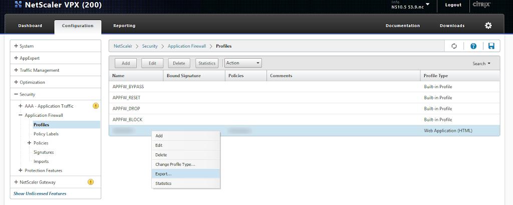 Copying a NetScaler Application Firewall Profile